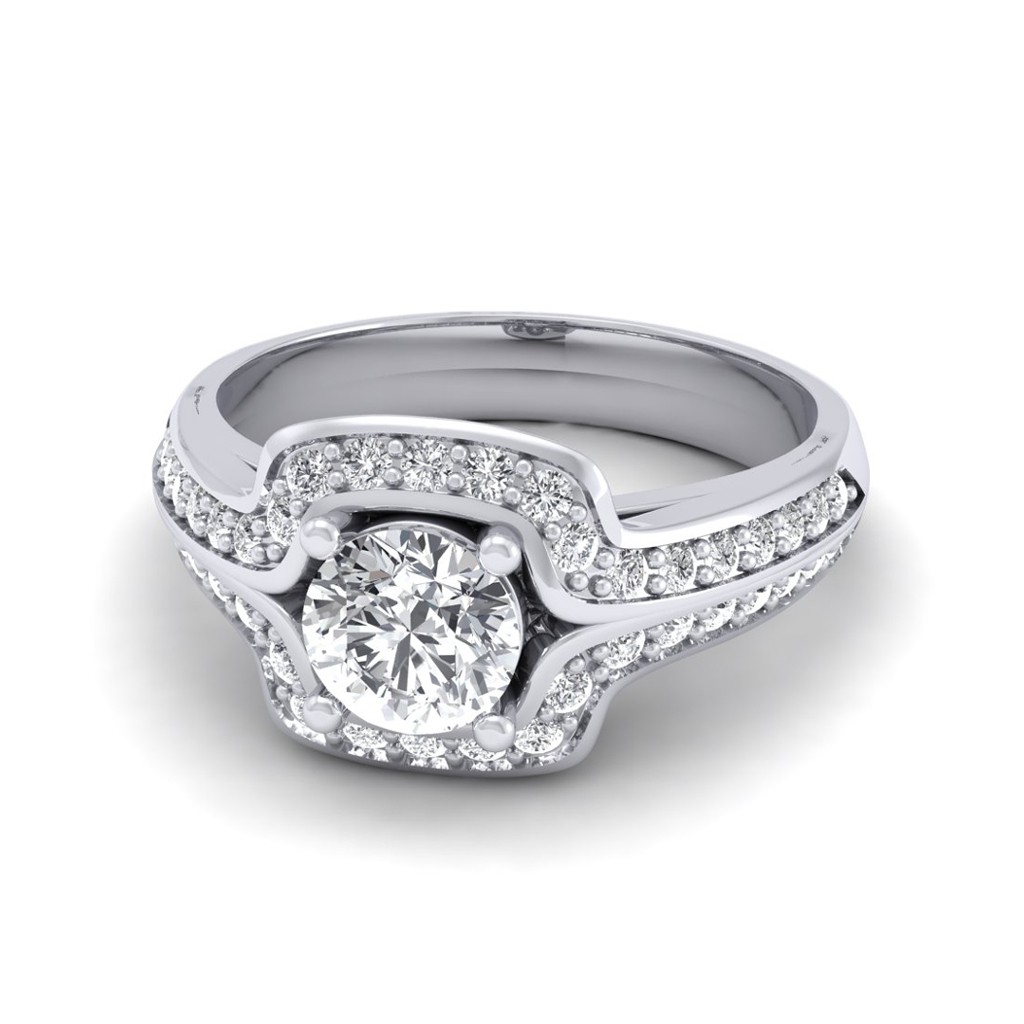Average Cost Of Engagement Ring: 0.60 Carat 18K White Gold