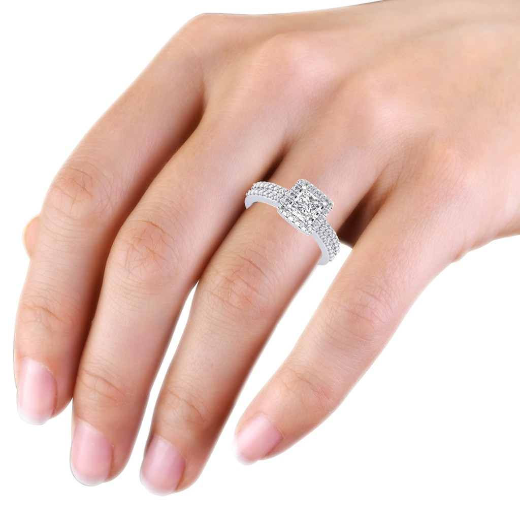 1.46 carat Platinum - Dual Band Helena Princess Engagement Ring ...