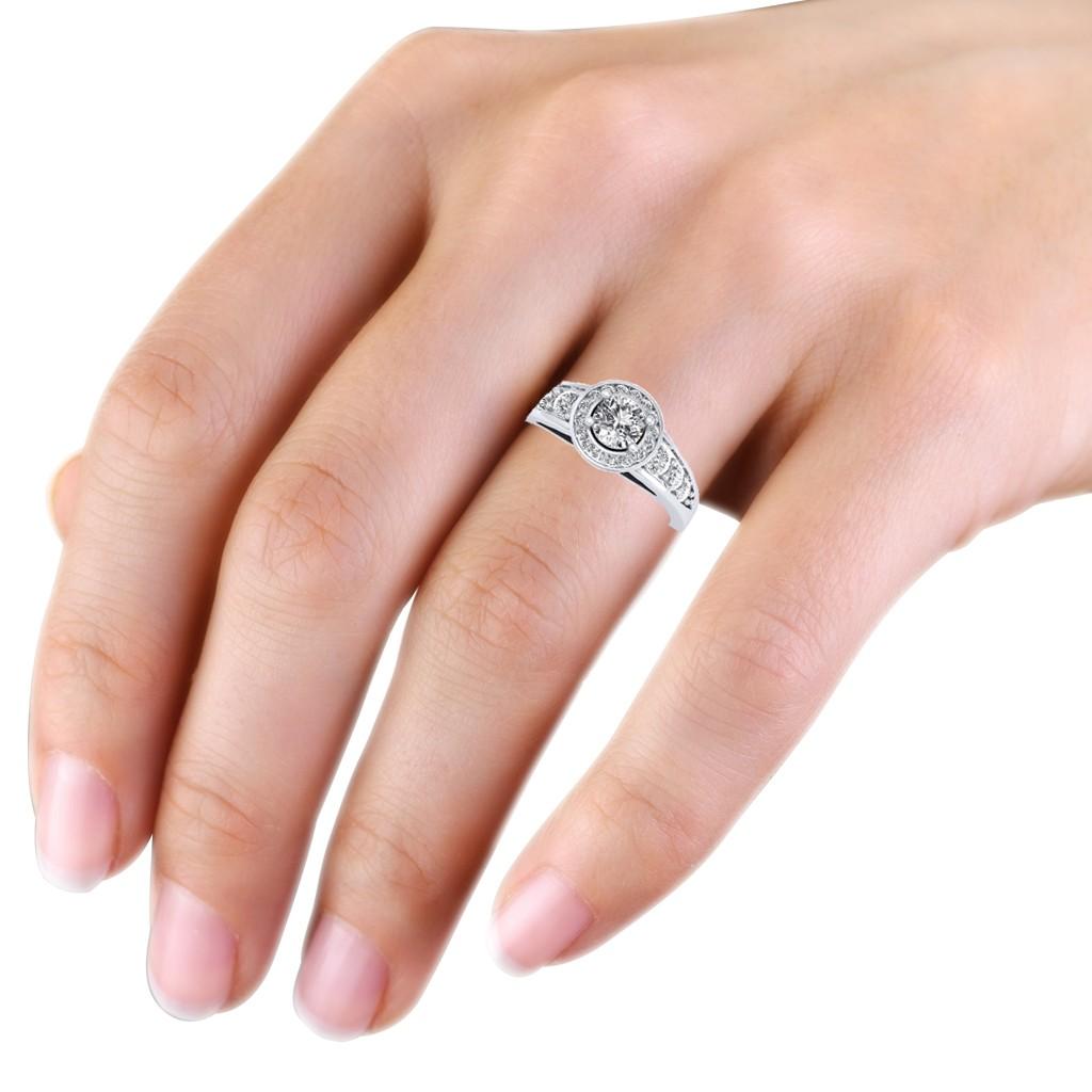 0.62 carat 18K White Gold - Azzario Engagement Ring - Engagement ...