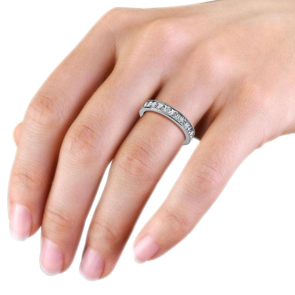 White Gold Ladies Milgrain Channel Set Diamond Full Eternity Ring ...