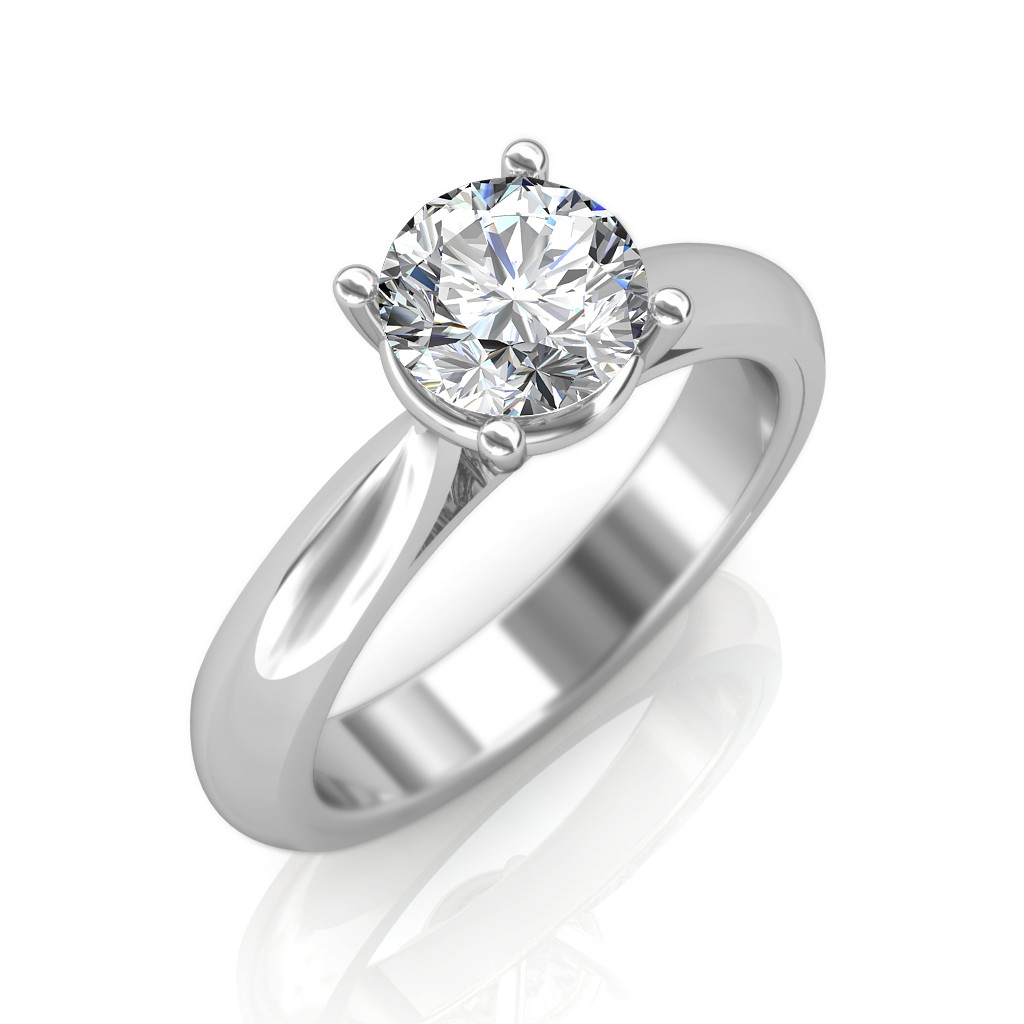 Average Cost Of Engagement Ring: 0.30 Carat 18K White Gold