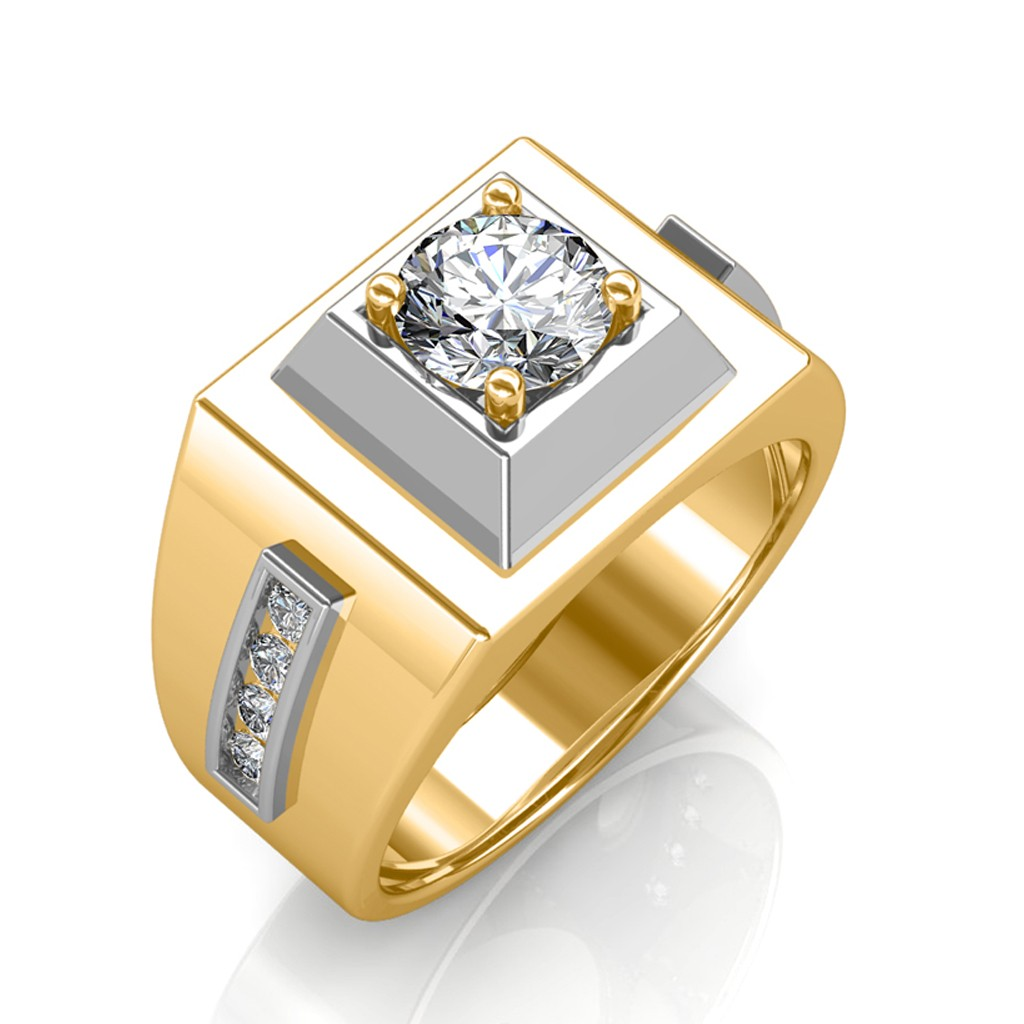 The Khufu Solitaire Ring For Him Yellow 0 36 Carat