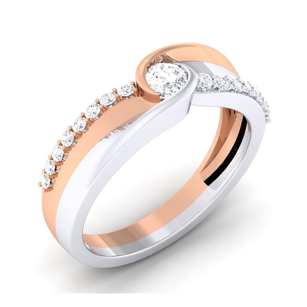 Gold Wedding Ring Price: 0.38 Carat 18K White & Rose Gold