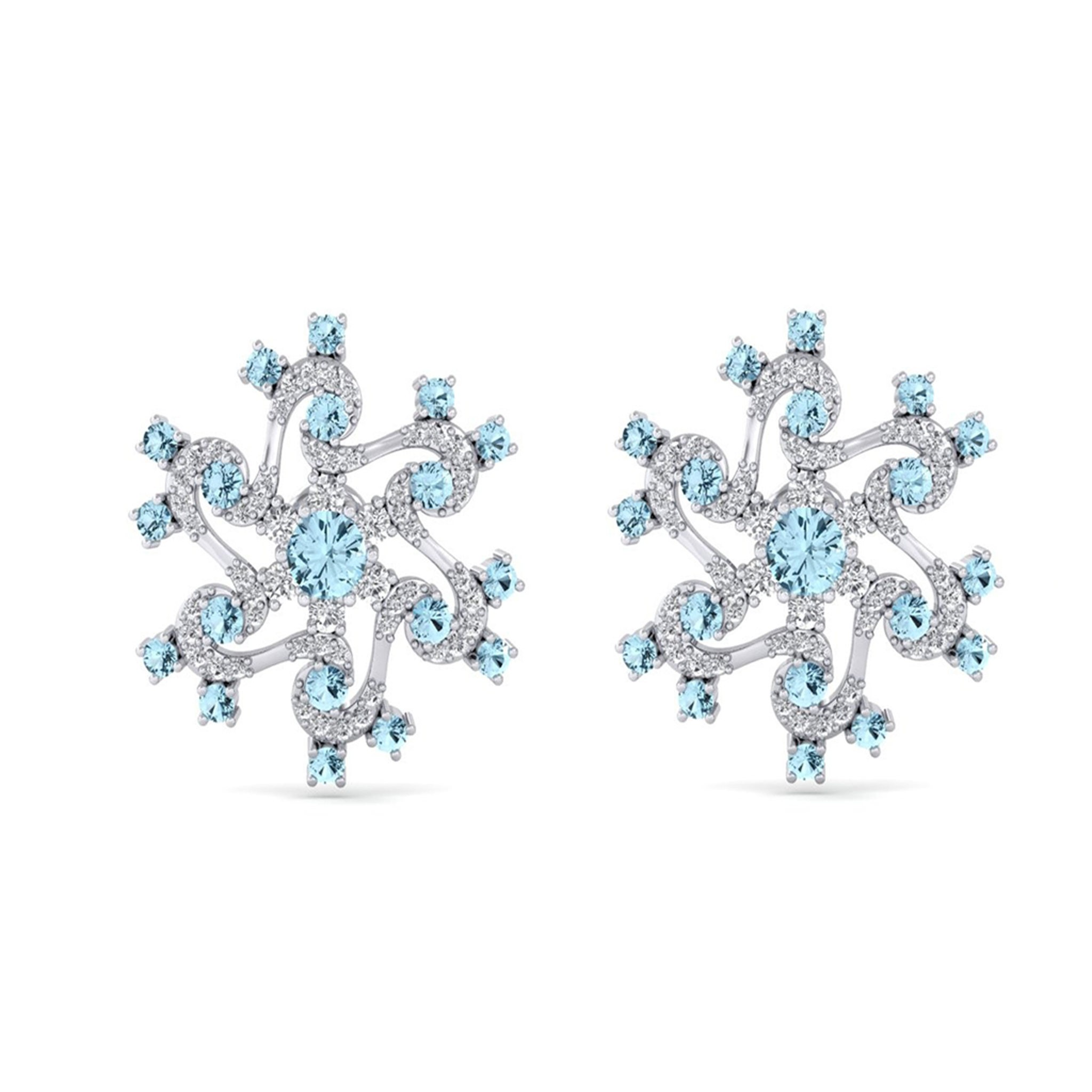 Diamond Earrings with Blue Gemstones