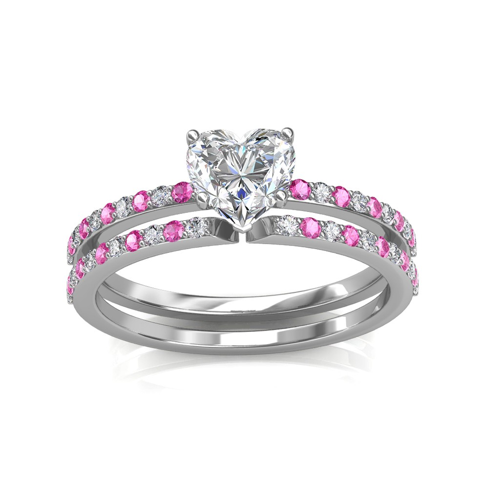 0.74 carat 18K White Gold - Carmine Engagement Ring and Wedding Band Set