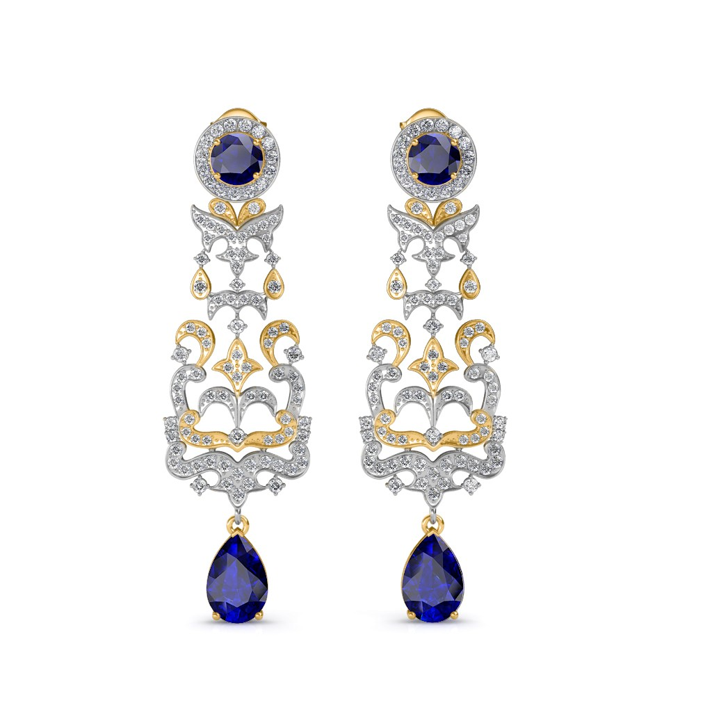 The irina chandelier earrings yellow diamond jewellery at best the irina chandelier earrings yellow diamond jewellery at best prices in india sarvadajewels mozeypictures Image collections