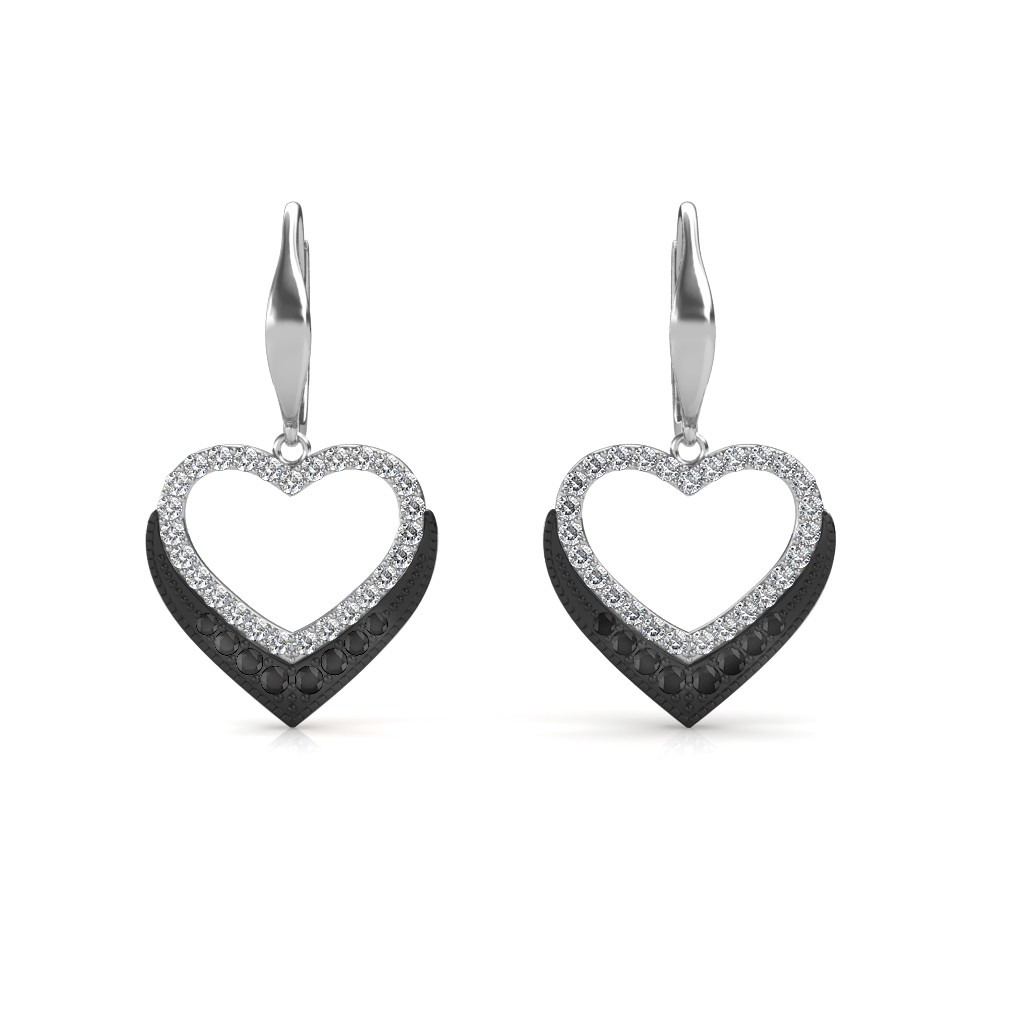 Black Diamond Heart Earring