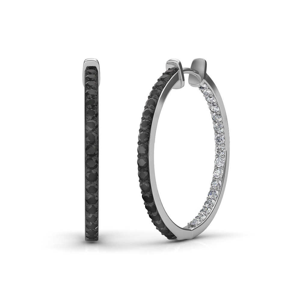 The Keya Black Diamond Hoop Earrings