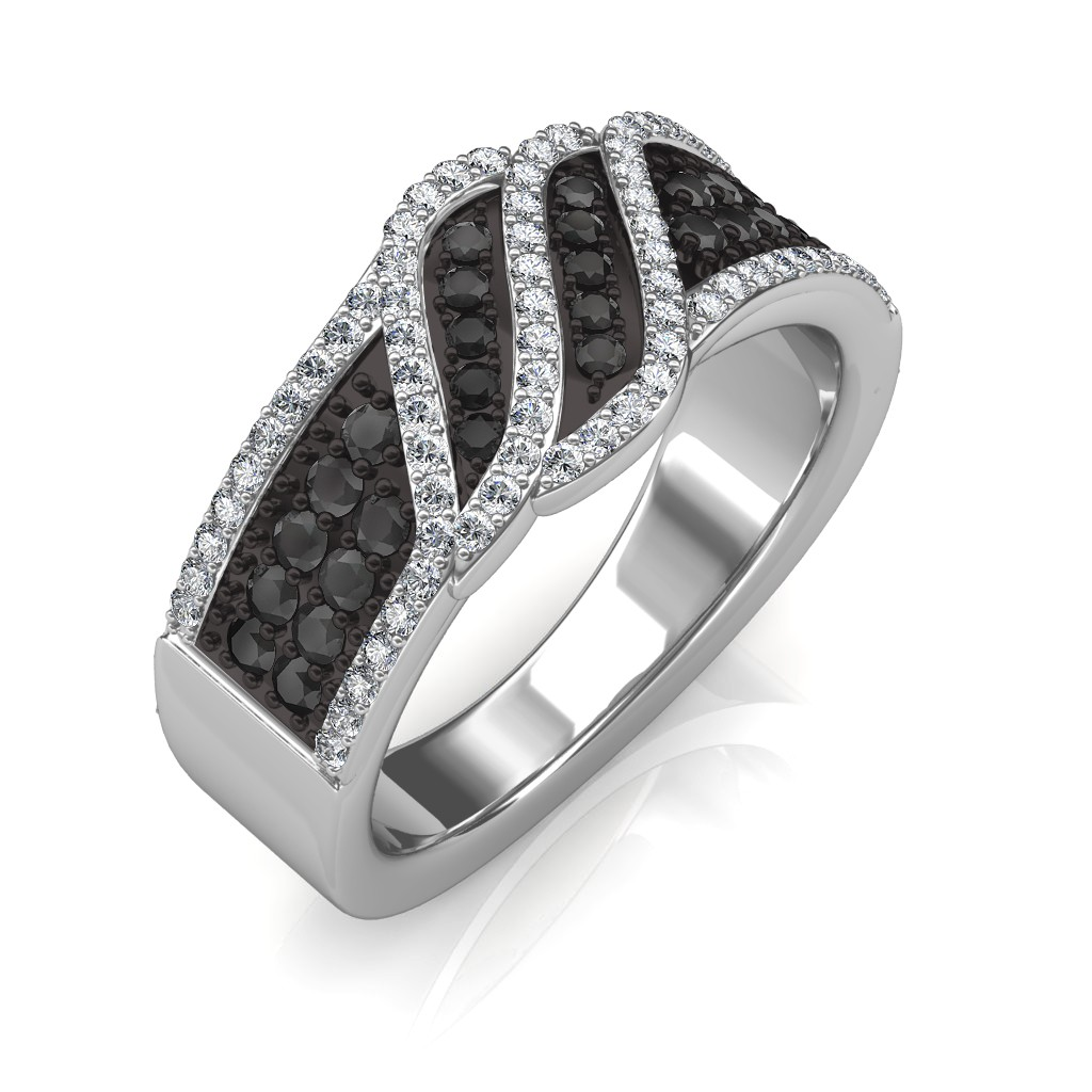 jewellery tapered prong black double diamond solitaire