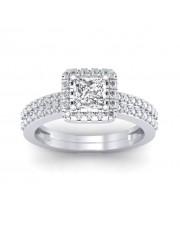 1.46 carat 18K White Gold - Dual Band Helena Princess Engagement Ring
