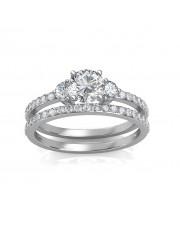1.30 carat 18K White Gold - Sylvia Engagement Ring and Wedding Band Set