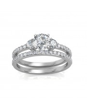 1.30 carat Platinum - Sylvia Engagement Ring and Wedding Band Set