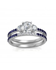 0.81 carat 18K White Gold - Athena Engagement Ring and Wedding Band Set