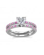 0.74 carat 18K White Gold - Carmine Engagement Ring and Wedding Band Set