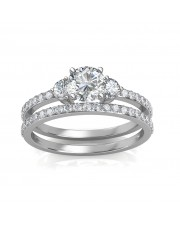 1.78 carat 18K White Gold - Sylvia Engagement Ring and Wedding Band Set