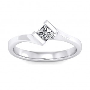 0.40 carat 18K White Gold - Elegant Princess Engagement Ring