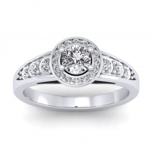 1.07 carat 18K White Gold - Azzario Engagement Ring