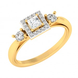 0.77 carat 18K Yellow Gold - Celina Princess Engagement Ring