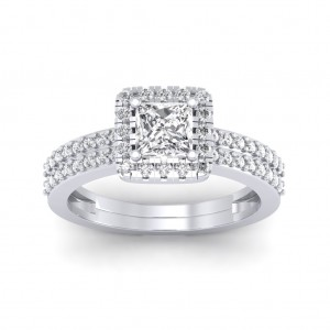 0.86 carat Platinum - Dual Band Helena Princess Engagement Ring