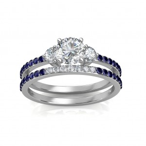 0.81 carat Platinum - Athena Engagement Ring and Wedding Band Set