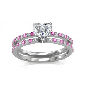 0.74 carat Platinum - Carmine Engagement Ring and Wedding Band Set