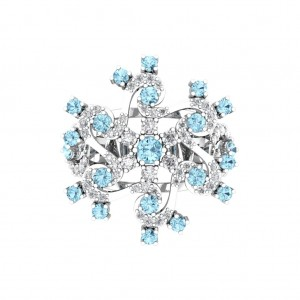 Light Blue Gemstone Diamond Ring