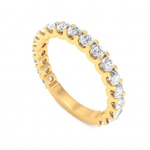 Yellow Gold U Prong 3/4 Eternity Ring - 5 cent diamonds