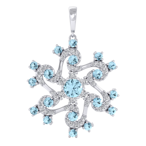 Light Blue Gemstone Diamond Pendant