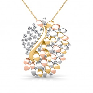 designer ladies gold circle p diamond pendant