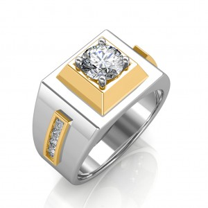 The Khufu Solitaire Ring For Him - White - 0.78 carat
