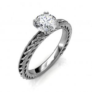 0.30 carat Platinum - Amor Etched Rope Engagement Ring