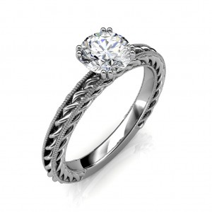 1.25 carat 18K White Gold - Amor Etched Rope Engagement Ring