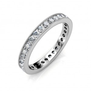 White Gold Milgrain Channel Set Full Eternity Ring - 2 cent diamonds