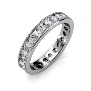 White Gold Milgrain Channel Set Full Eternity Ring - 5 cent diamonds