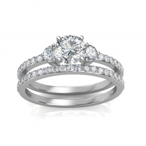 1.78 carat 18K White Gold - Sylvia Engagement Ring and Wedding Band Set