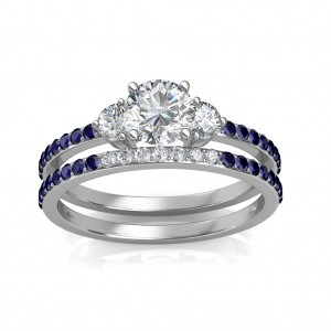 1.29 carat Platinum - Athena Engagement Ring and Wedding Band Set