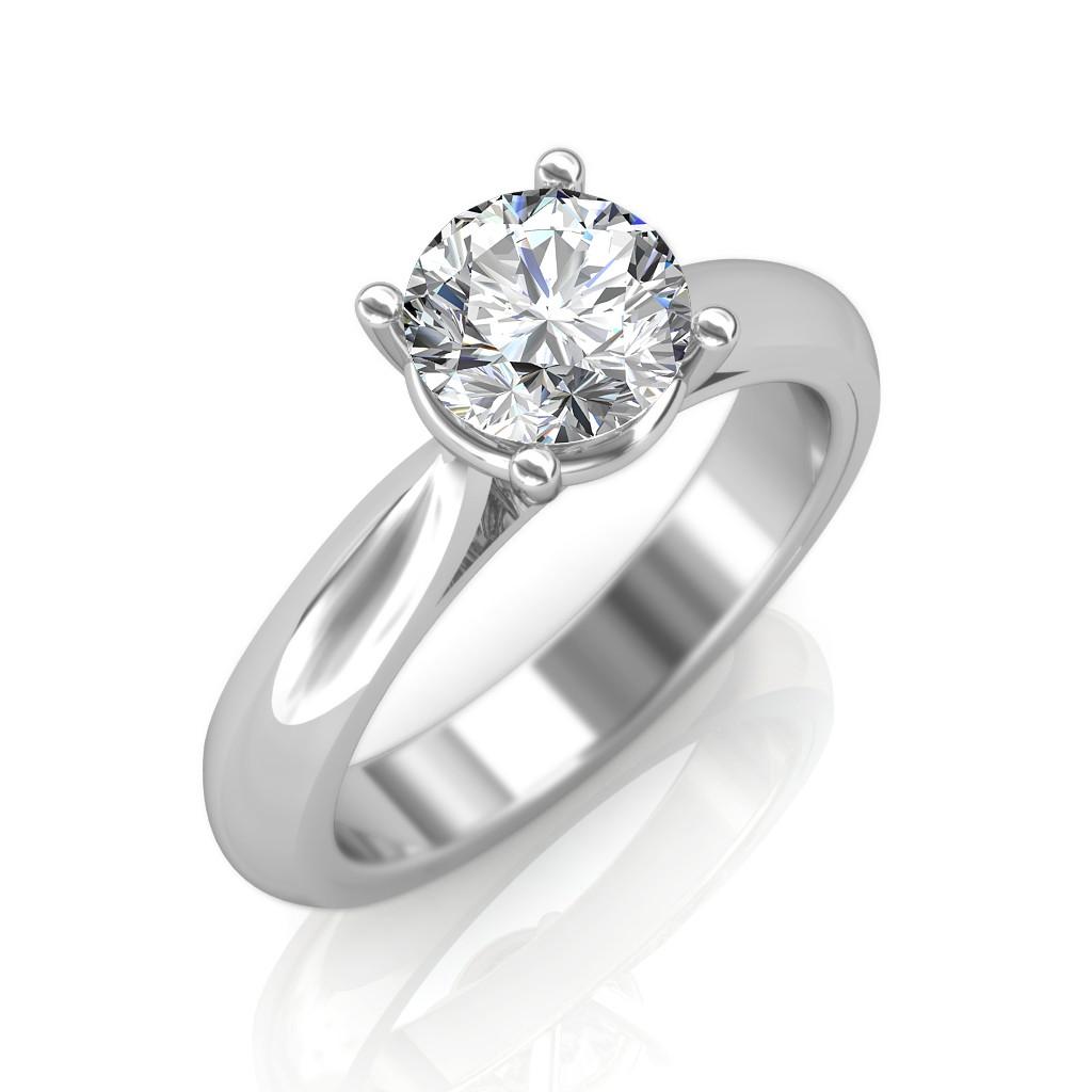 0 30 Carat 18k White Gold Classic Engagement Ring