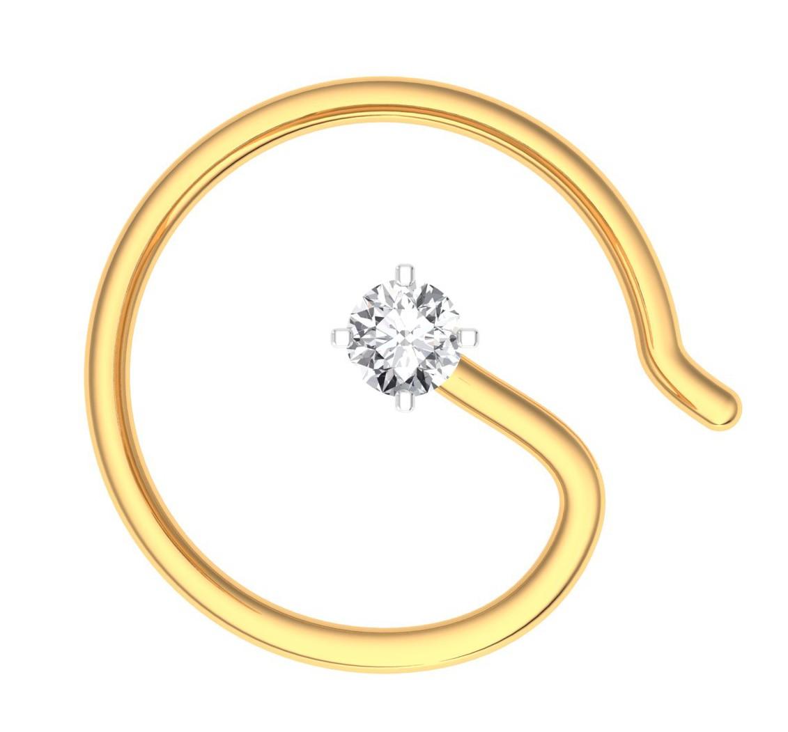 The Classic Hook Nose Pin 0 03 Carat Diamond Jewellery At Best