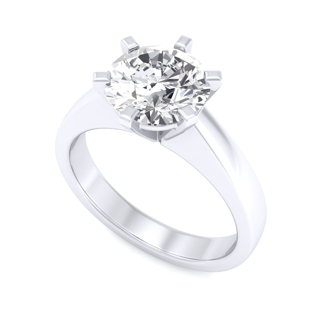 1.25 carat 18K White Gold - Neo Six-Prong/Six-Claw Engagement Ring