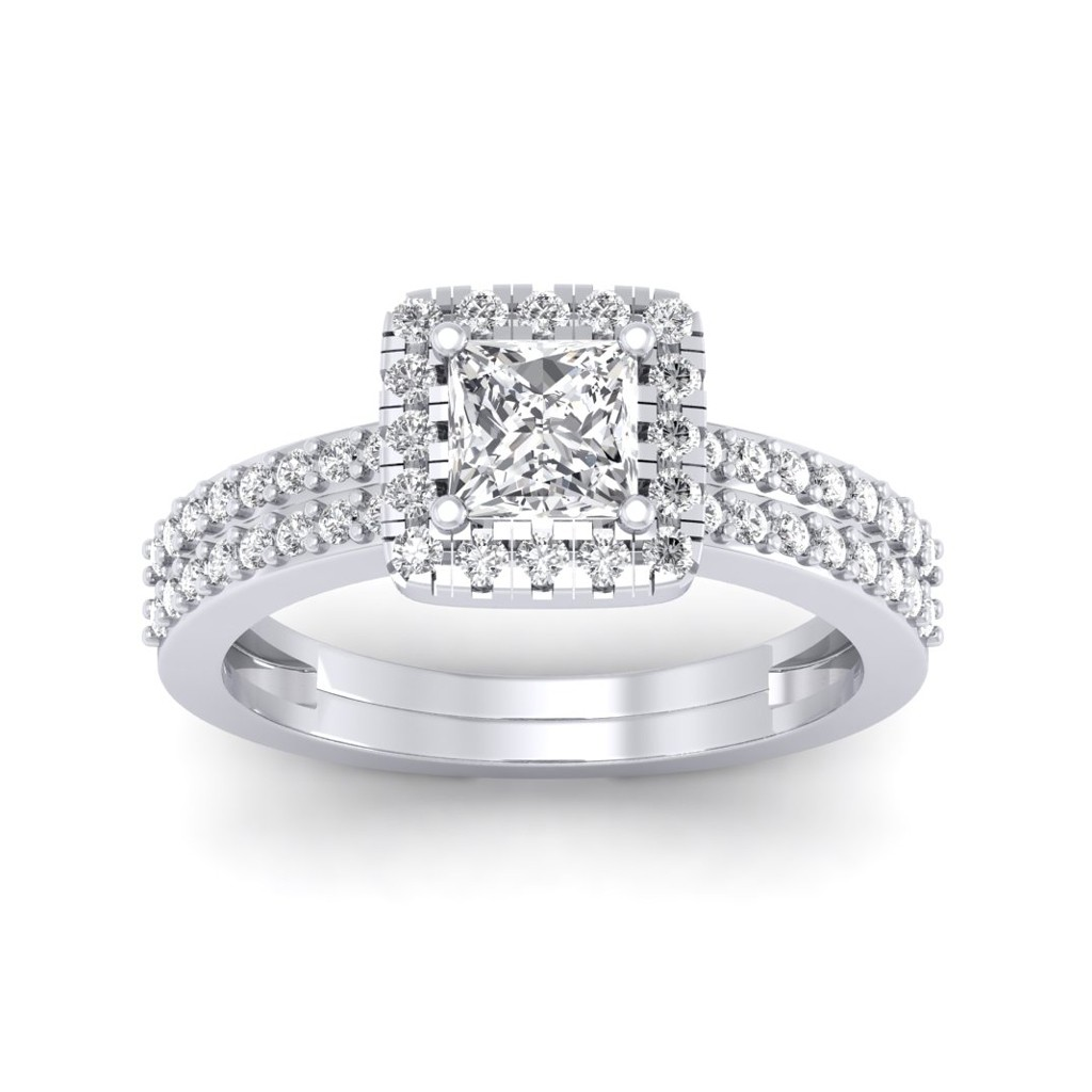 0.86 carat Platinum - Dual Band Helena Princess Engagement Ring