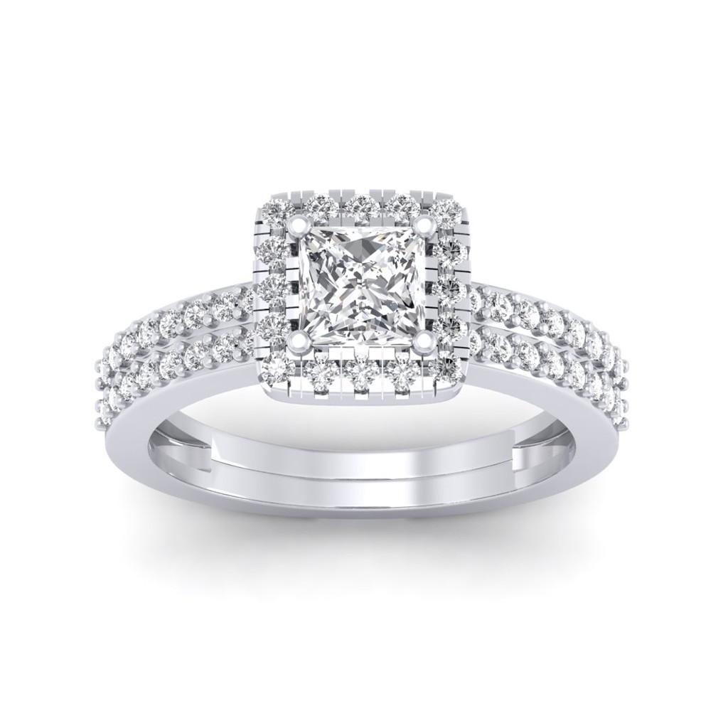 0.86 carat 18K White Gold - Dual Band Helena Princess Engagement Ring