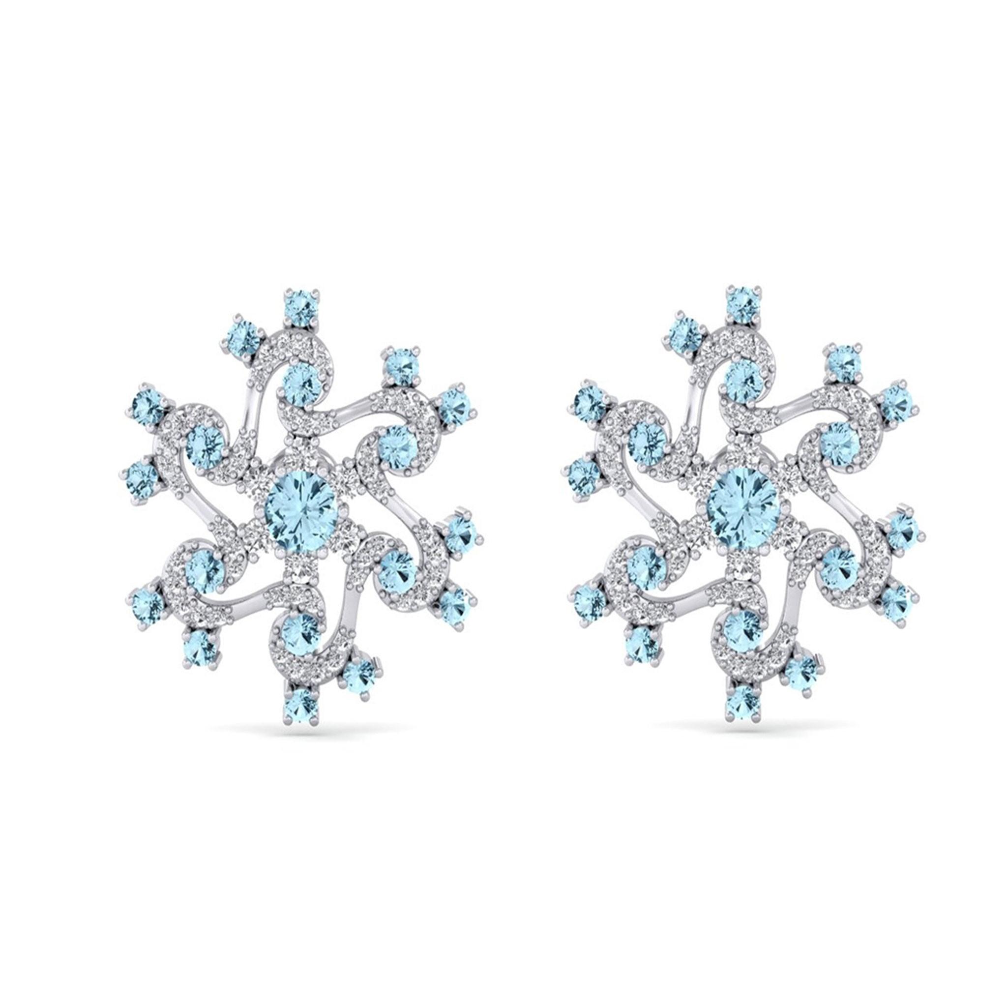 Diamond Earrings with Blue Gemstones