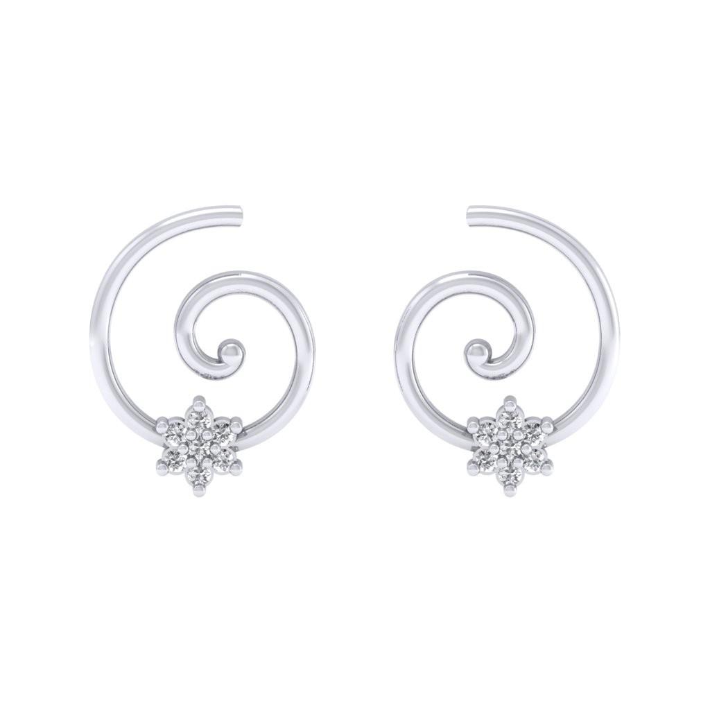 White Gold Swirl Earring