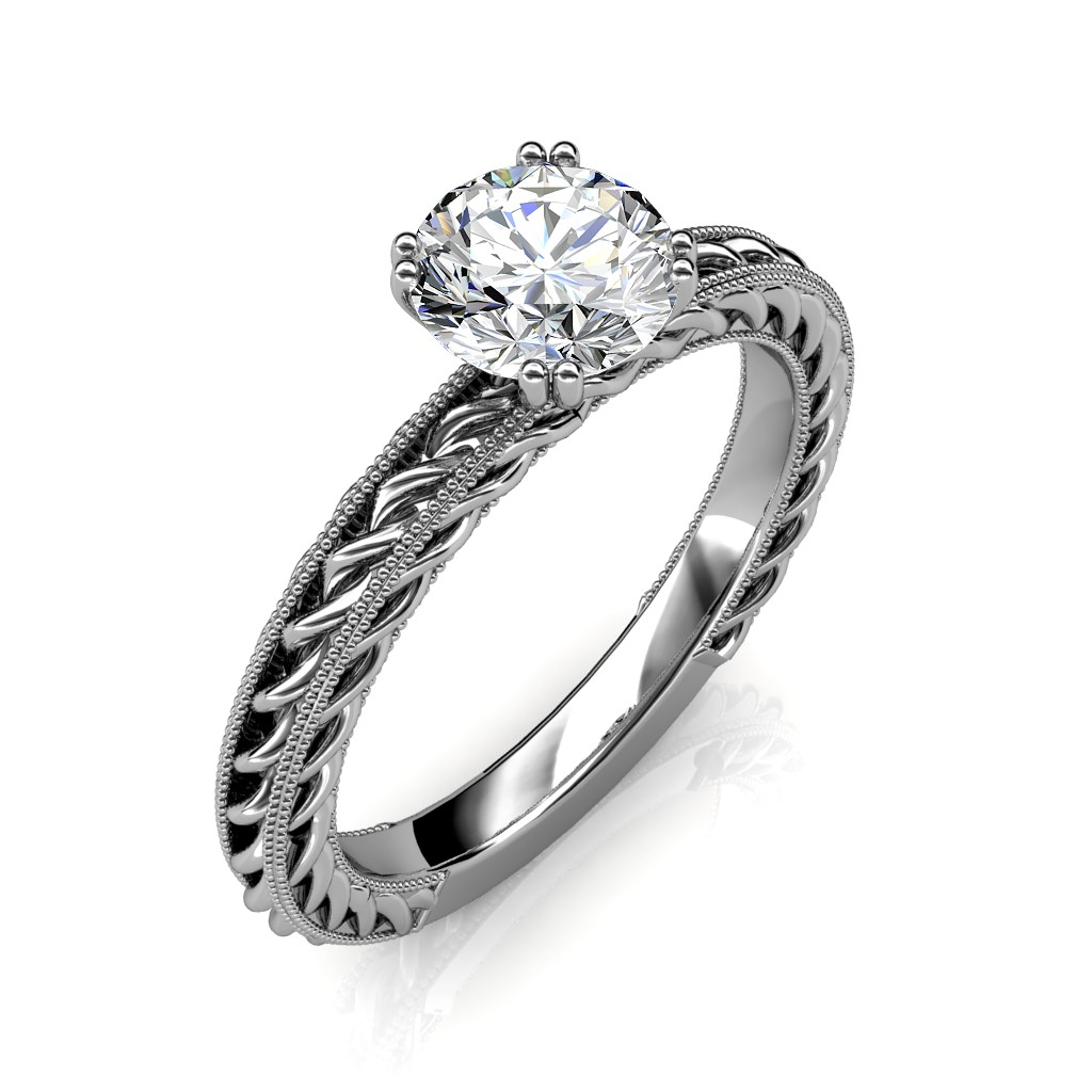 0.30 carat 18K White Gold - Amor Etched Rope Engagement Ring