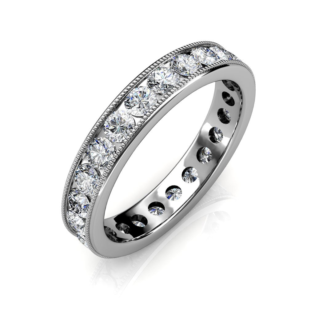White Gold Milgrain Channel Set Full Eternity Ring - 5 cent diamonds