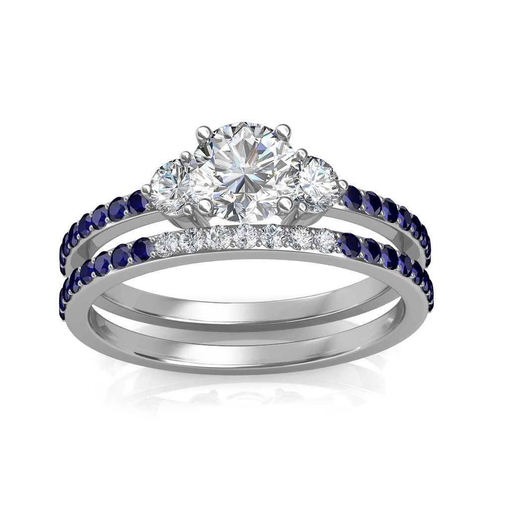 1.29 carat 18K White Gold - Athena Engagement Ring and Wedding Band Set