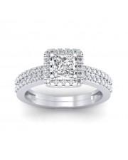 1.46 carat White Gold - Dual Band Helena Princess Engagement Ring