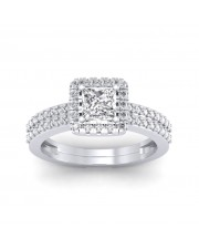 0.86 carat White Gold - Dual Band Helena Princess Engagement Ring