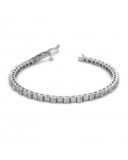 The Rosa Alternating Block Tennis Bracelet -  Platinum 4 cent diamonds