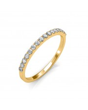 Yellow Gold Classic Half Eternity Ring - Micro Pave